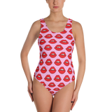 Red Lips on Pink One-Piece