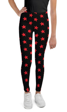 Red Stars on Black Youth Leggings