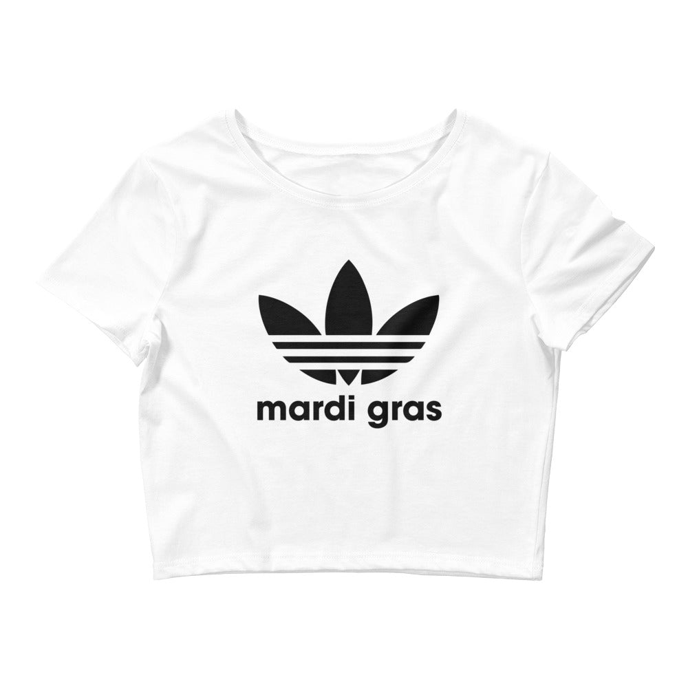 Mardi Gras Black Leaf Women's Crop Tee