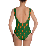 Orange Lightning Bolts on Green One-Piece