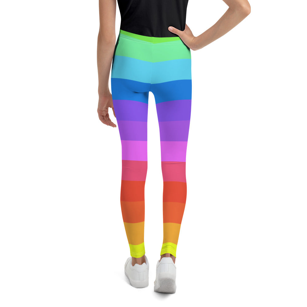 Rainbow Ombre Stripe Youth Leggings