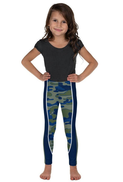 Olive & Navy Scoop Stripe Kid's Leggings