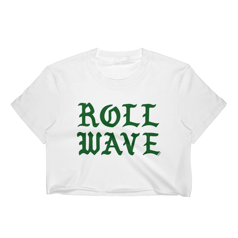 Roll Wave Green Gothic Letters T-Shirt Crop Top