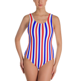 Red, White & Blue Striped One-Piece