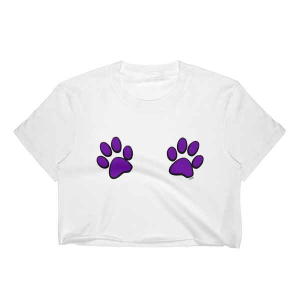 Double Purple Paw Prints T-Shirt Crop Top