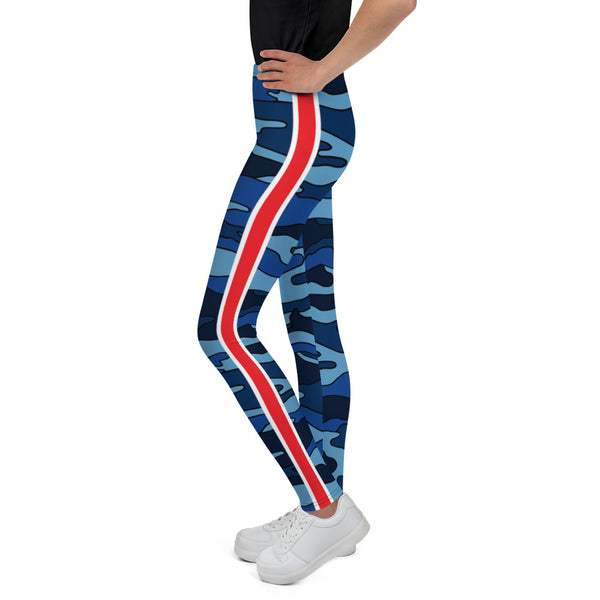 Navy Camo Red Stripe Youth Leggings