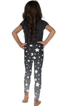 White Stars Gray Ombre Kid's Leggings