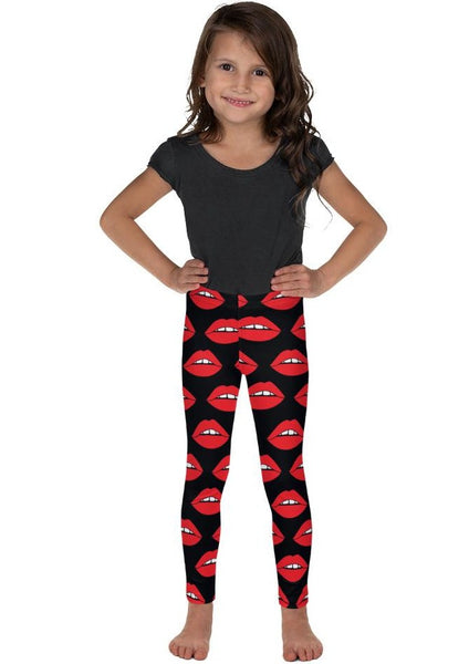 Red Lips on Black Kid's Leggings