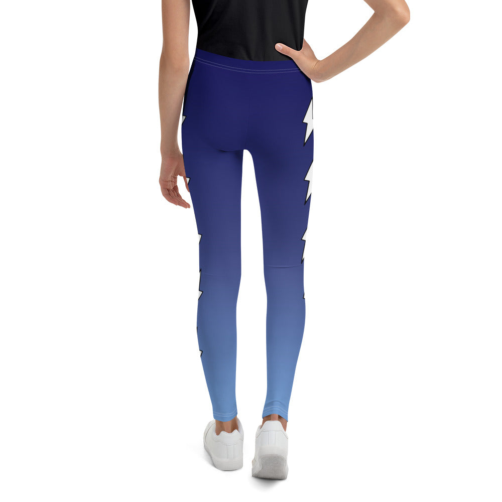 Side White Bolts Blue Ombre Youth Leggings