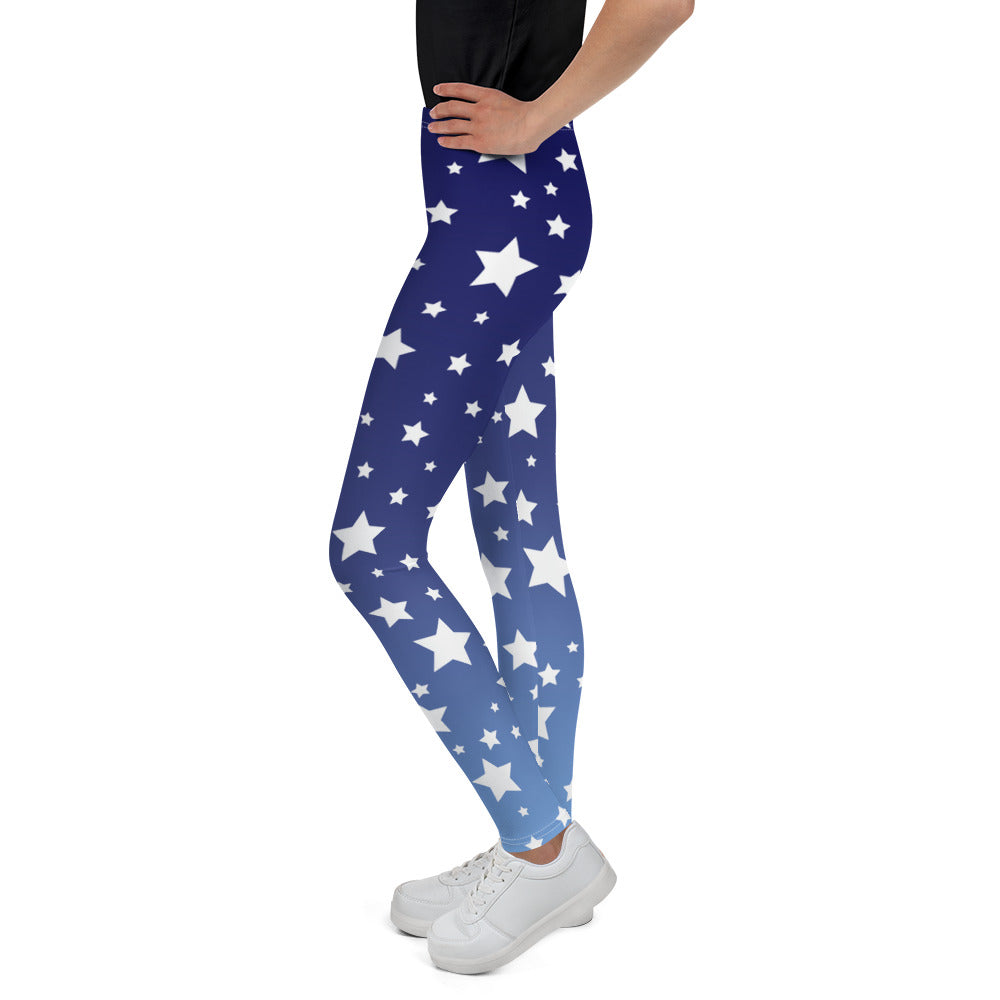 White Stars Blue Ombre Youth Leggings