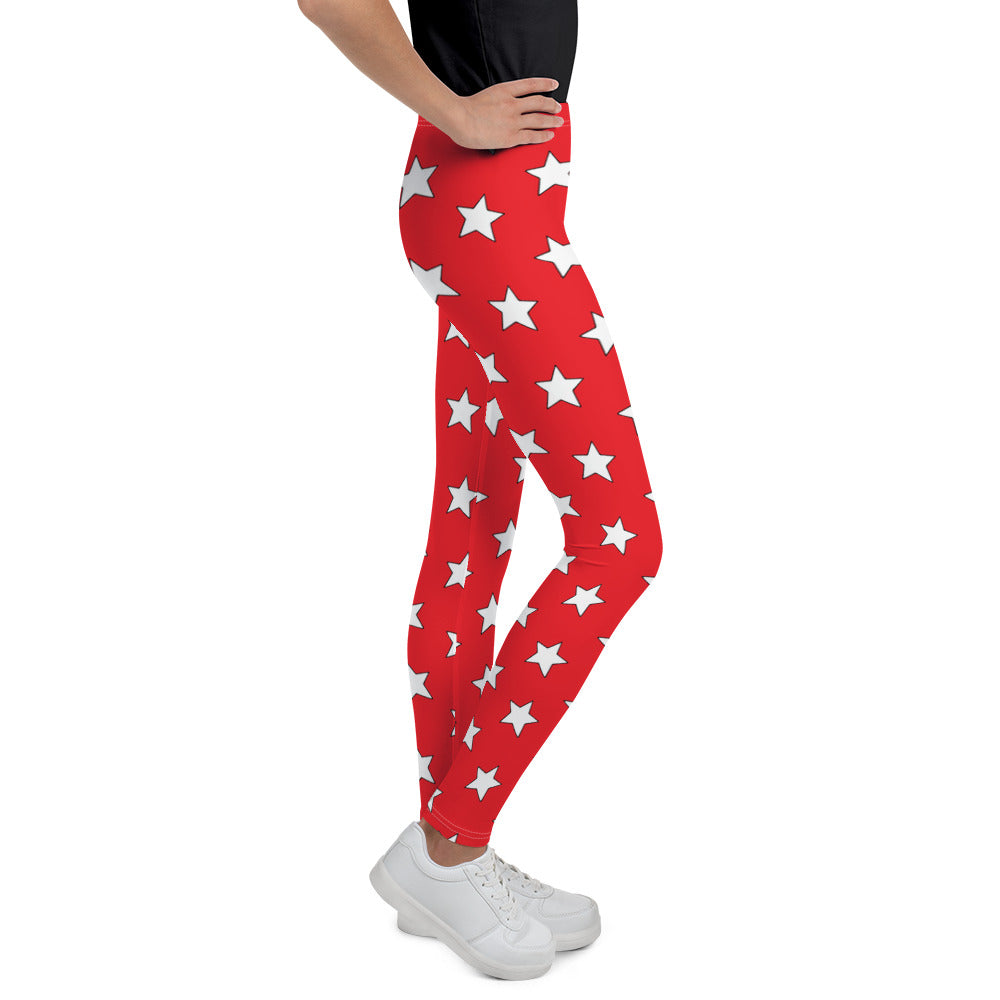 White All Star Red Youth Leggings