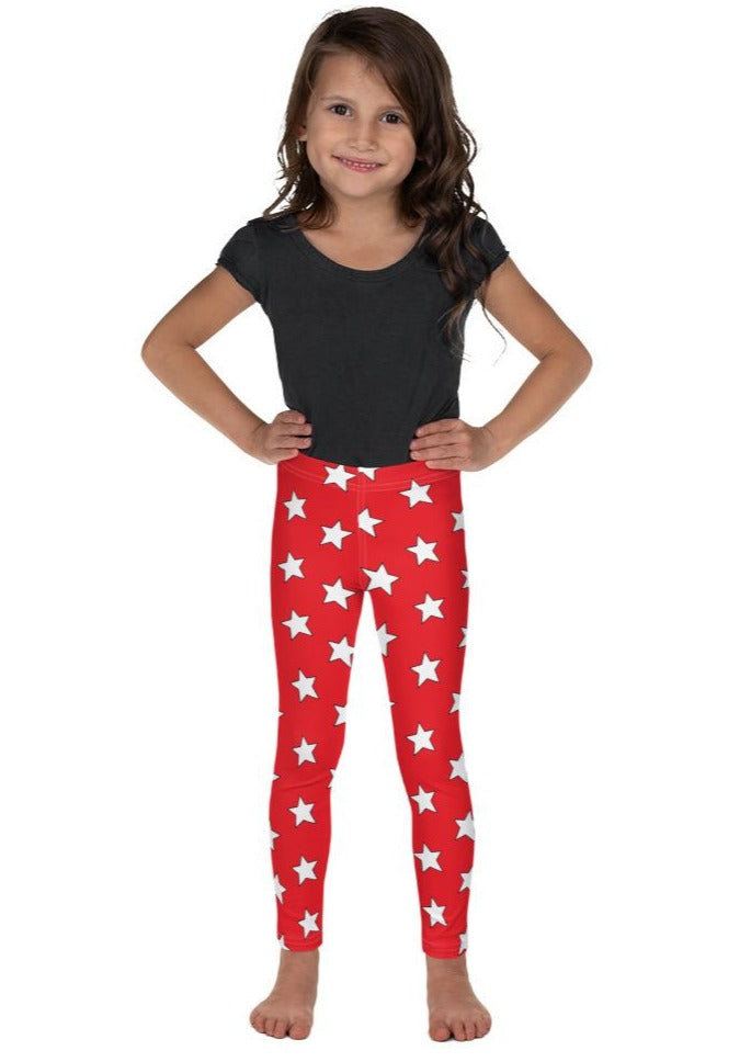 White All Star Red Kid's Leggings