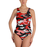 Red & Black Camo One-Piece