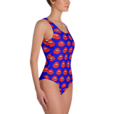 Red Lips on Blue One-Piece