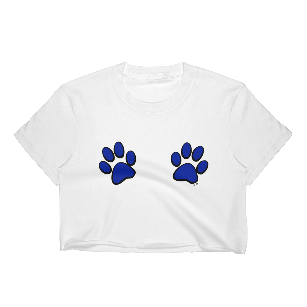 Double Blue Paw Prints T-Shirt Crop Top