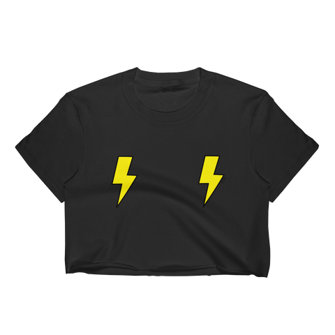 Double Yellow Lightning Bolts T-Shirt Crop Top