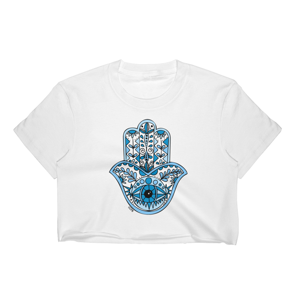 Blue Hamsa T-Shirt Crop Top