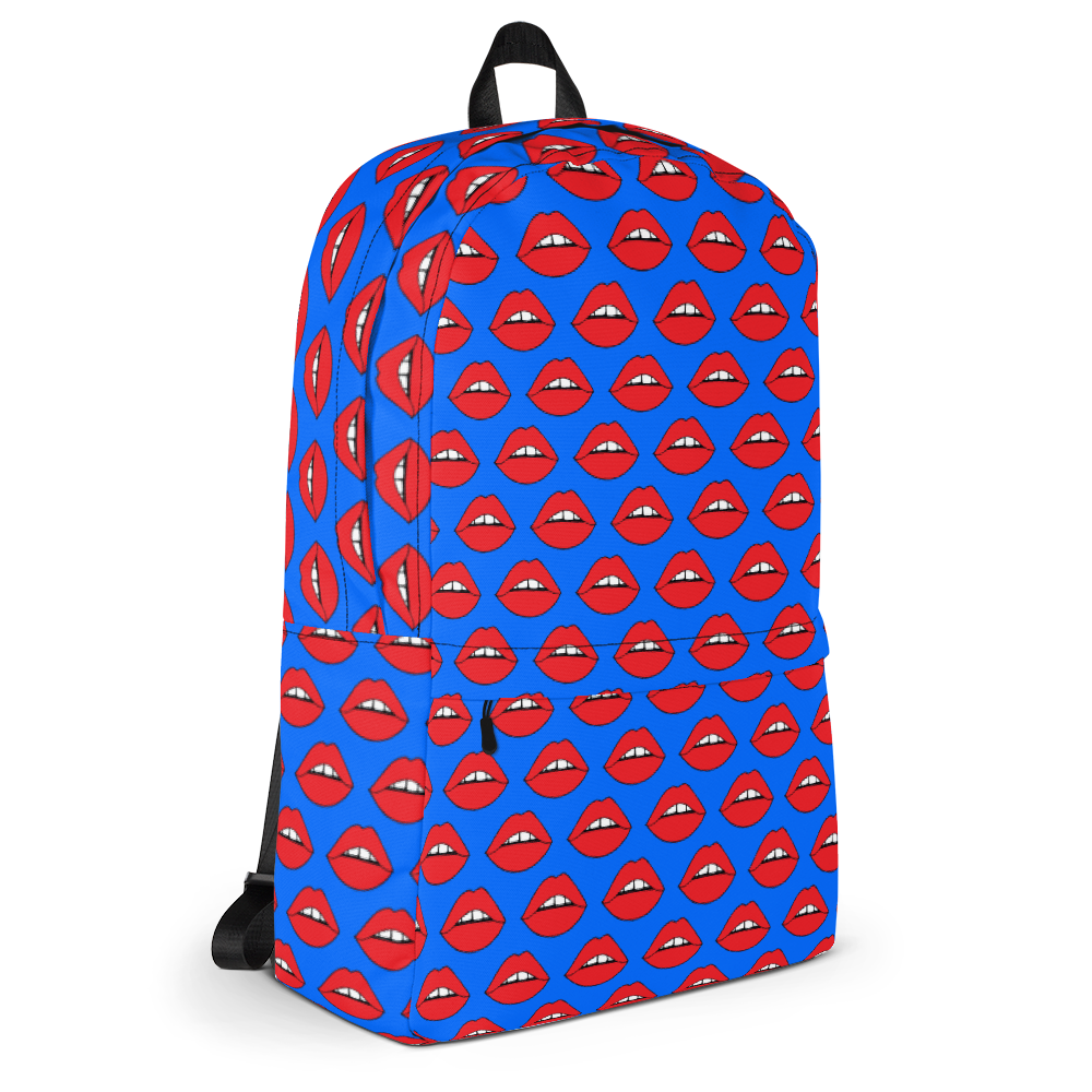 Lips on Blue Backpack