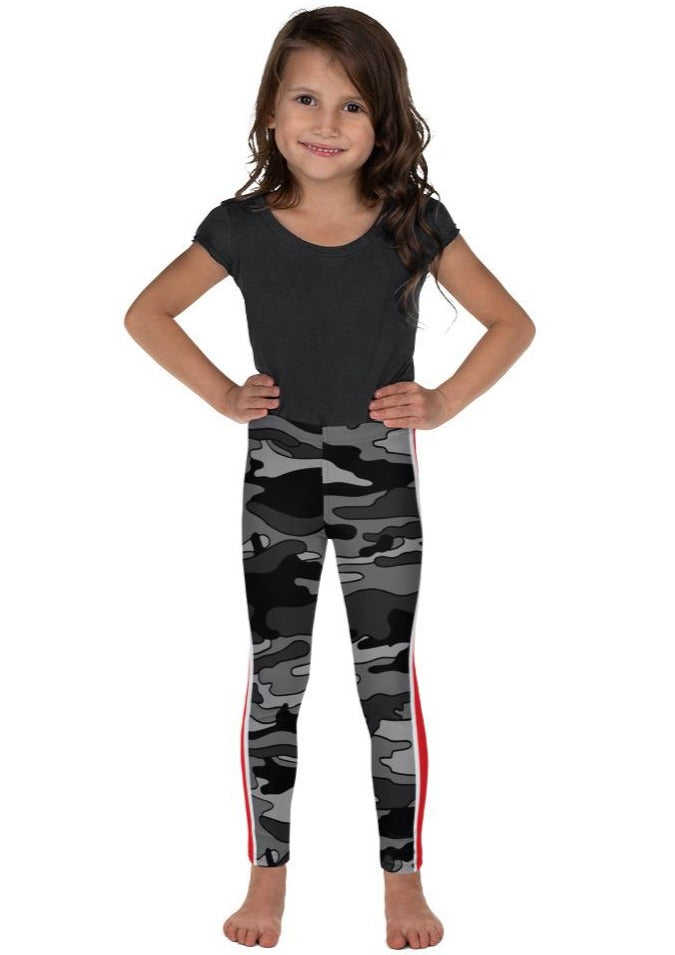 Gray Camo Red Stripe Kid's Leggings