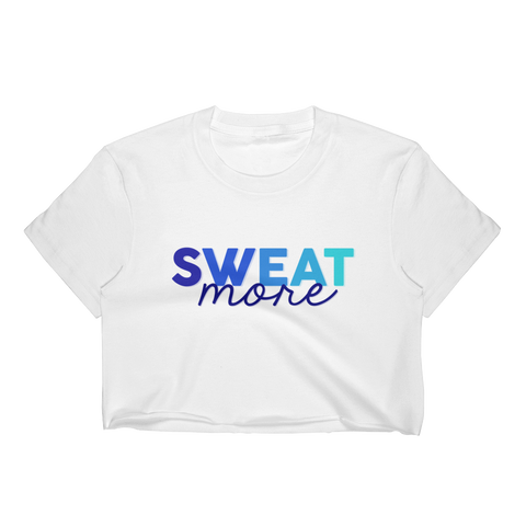 Sweat More Blue Ombre Cropped T-Shirt