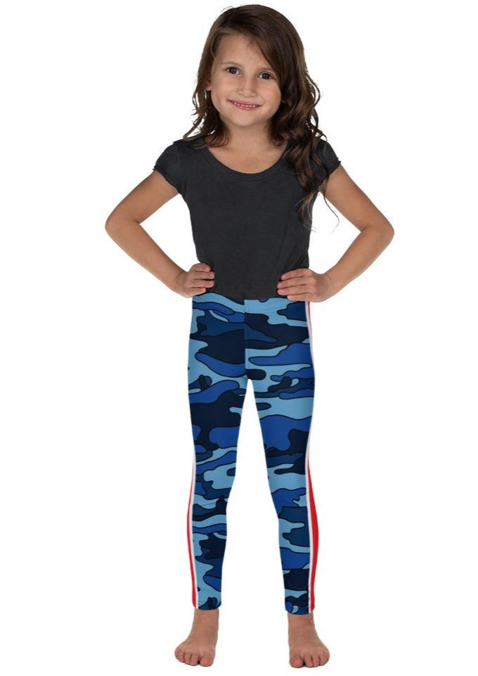 Navy Camo Red Stripe Kid's Leggings
