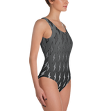 Gray Ombre Lightning Bolts One-Piece