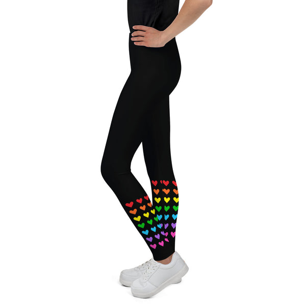 Rainbow Ankle Hearts Youth Leggings