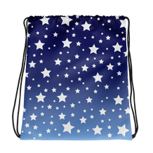White Stars Blue Ombre Drawstring Bag