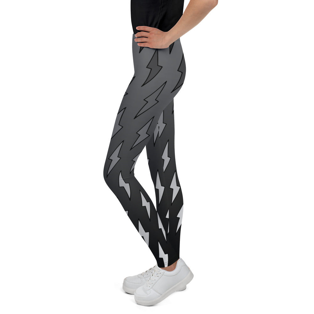 Gray Ombre Lightning Bolts Youth Leggings