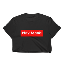 Play Tennis Red Block Cropped T-Shirt