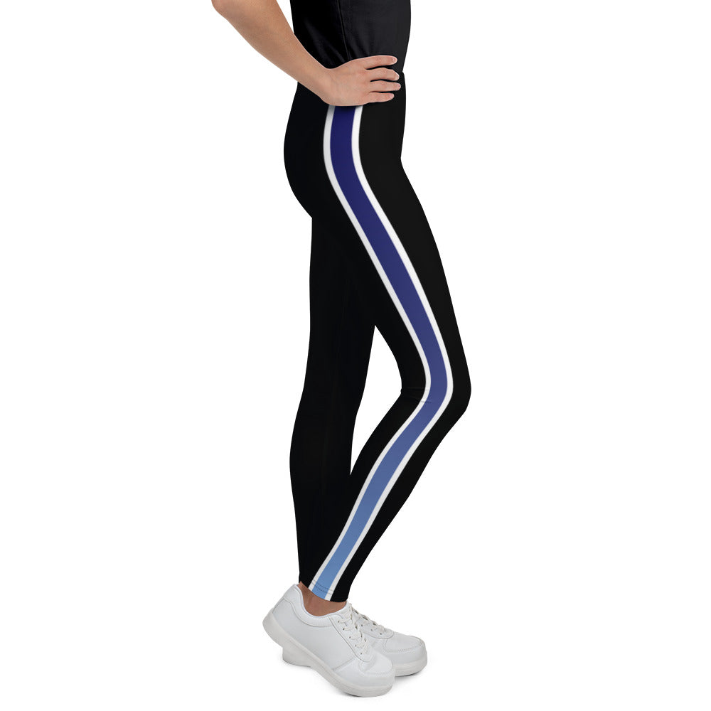 Blue Ombre Stripe Youth Leggings