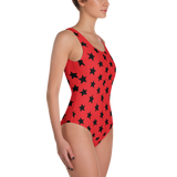 Black All-Star on Red One-Piece