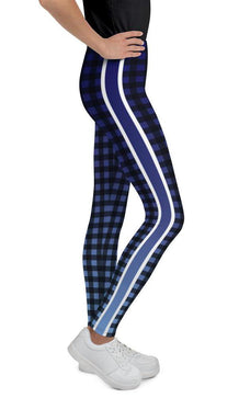 Blue Ombre Stripe Gingham Youth Leggings