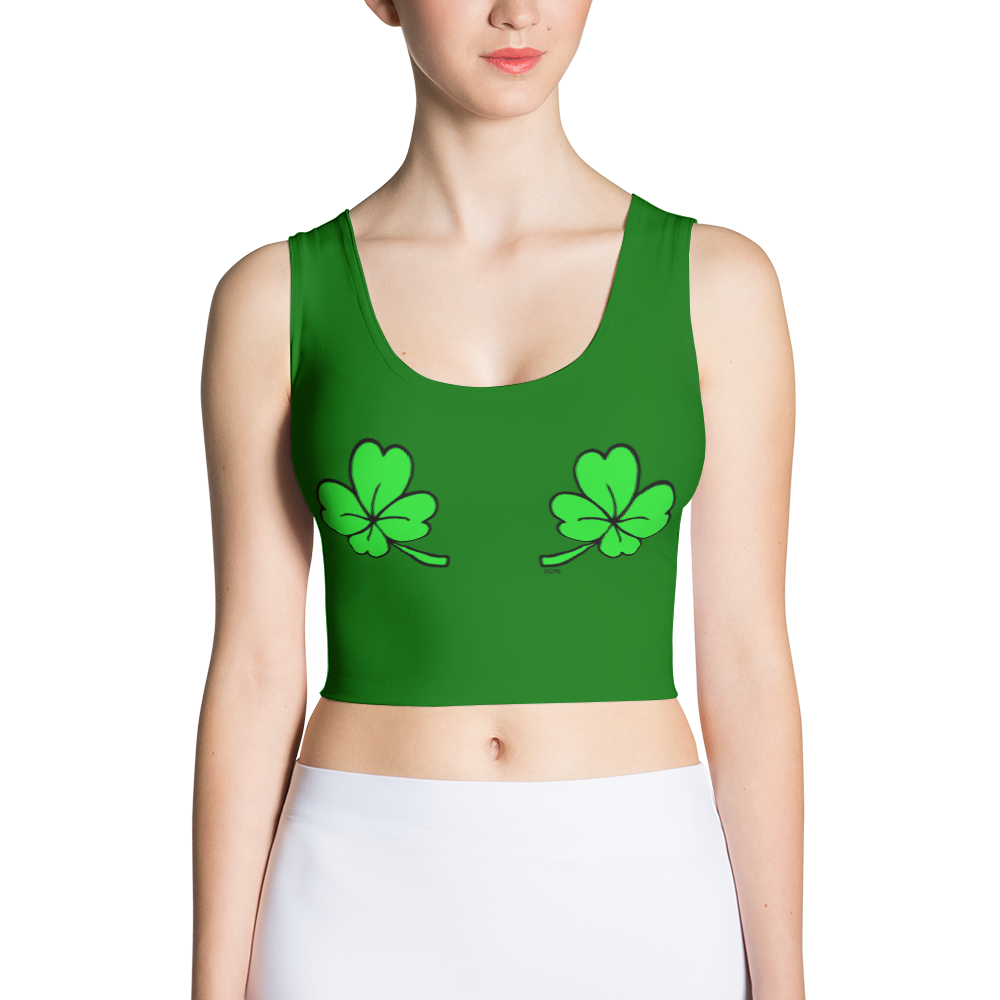 Double Shamrocks Dark Green Fitted Cropped Tank
