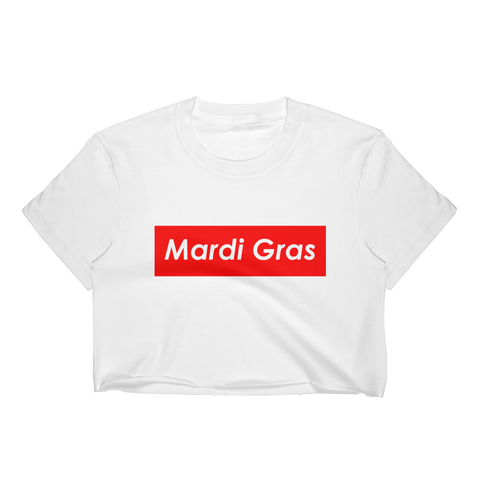 Mardi Gras Red Block Cropped T-Shirt