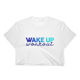 Wake Up Workout Blue Cropped T-Shirt