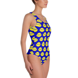 Yellow Lips on Blue One-Piece