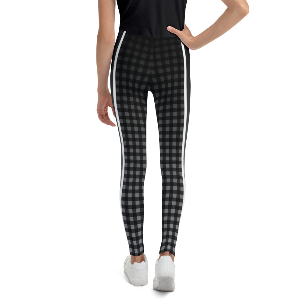 Gray Ombre Stripe Gingham Youth Leggings