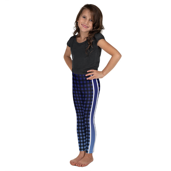 Blue Ombre Stripe Gingham Kid's Leggings