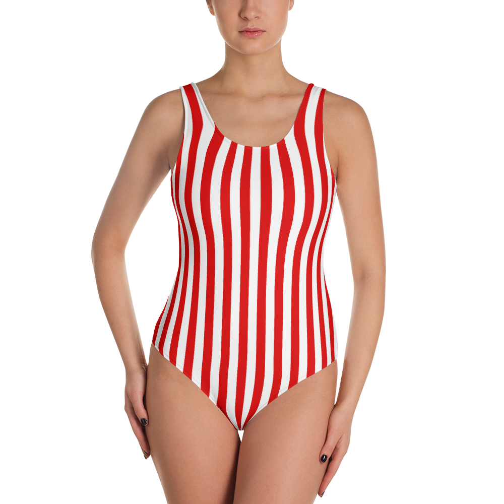 Red & White Striped One-Piece