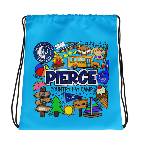 Pierce Day Camp Collage Drawstring Bag