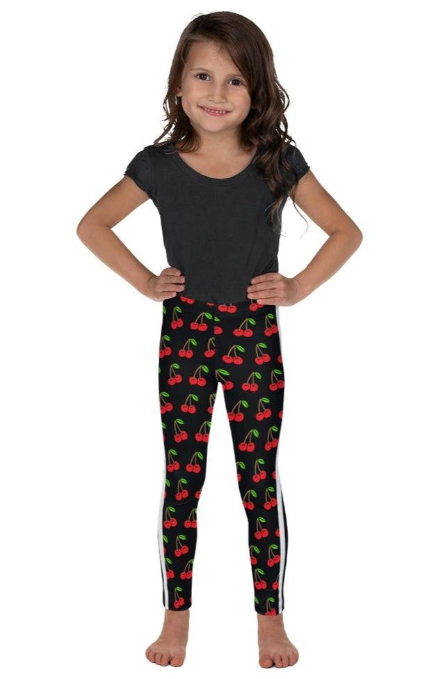 Cherries Double White Stripe Kid's Leggings