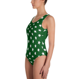 White Stars on Green One-Piece