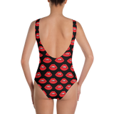 Red Lips on Black One-Piece