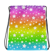 White Stars Rainbow Ombre Drawstring Bag