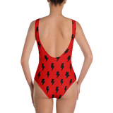 Black Lightning Bolts on Red One-Piece