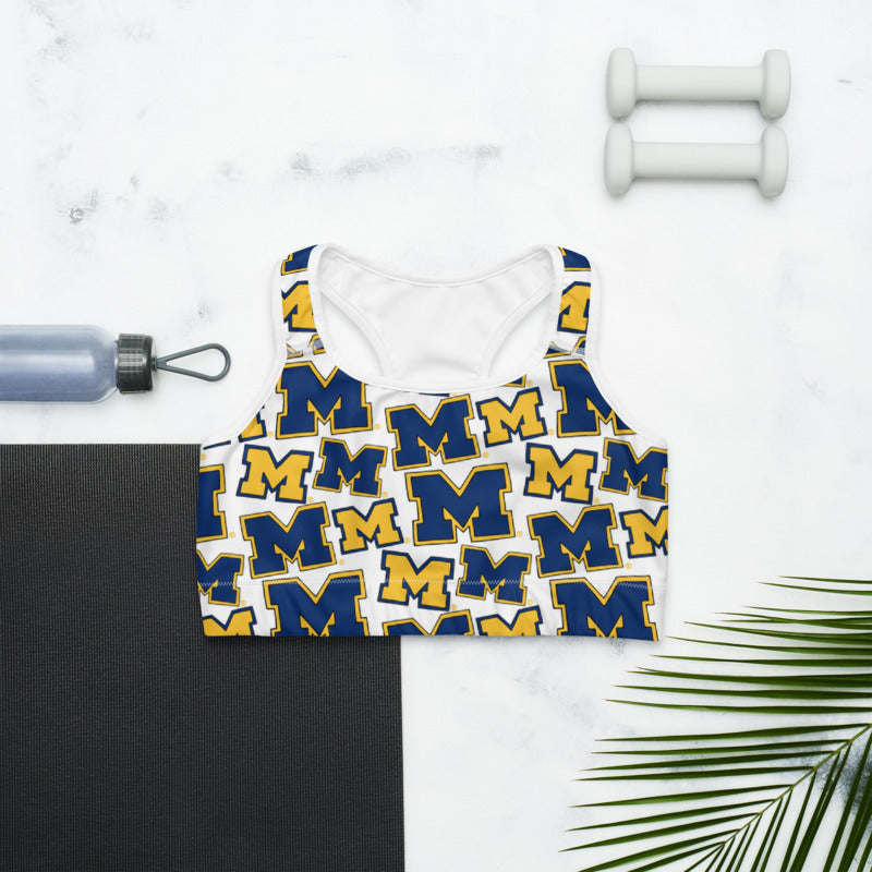 Michigan M Pattern Sports Bra