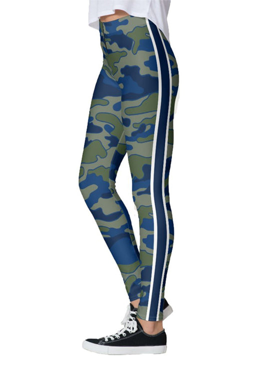 Olive & Navy Stripe Camo Leggings