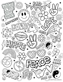 Peace and Love Coloring Sheet
