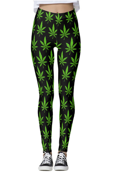 Weed Leaves Thick Band Leggings